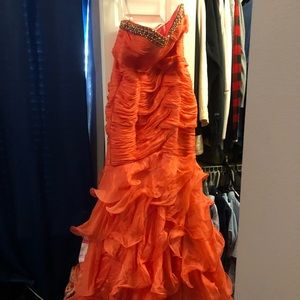 Jovani Orange Jewel Trim Gown
